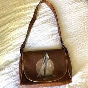 Vintage unique leather sailboat purse